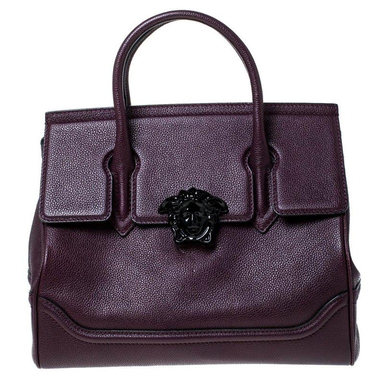 Versace Burgundy Leather Palazzo Empire Tote For Sale