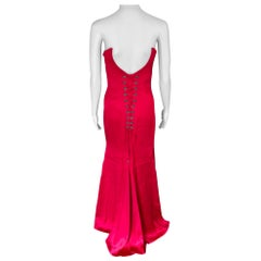 Versace Bustier Corset Satin Red Evening Dress Gown