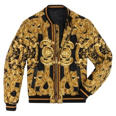 VERSACE c.2013 Gold Black Baroque Quilted Silk Zip Up Bomber Jacket