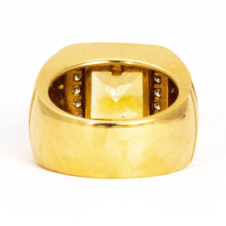 Modern Versace Citrine and Diamond 18 Carat Gold Statement Ring