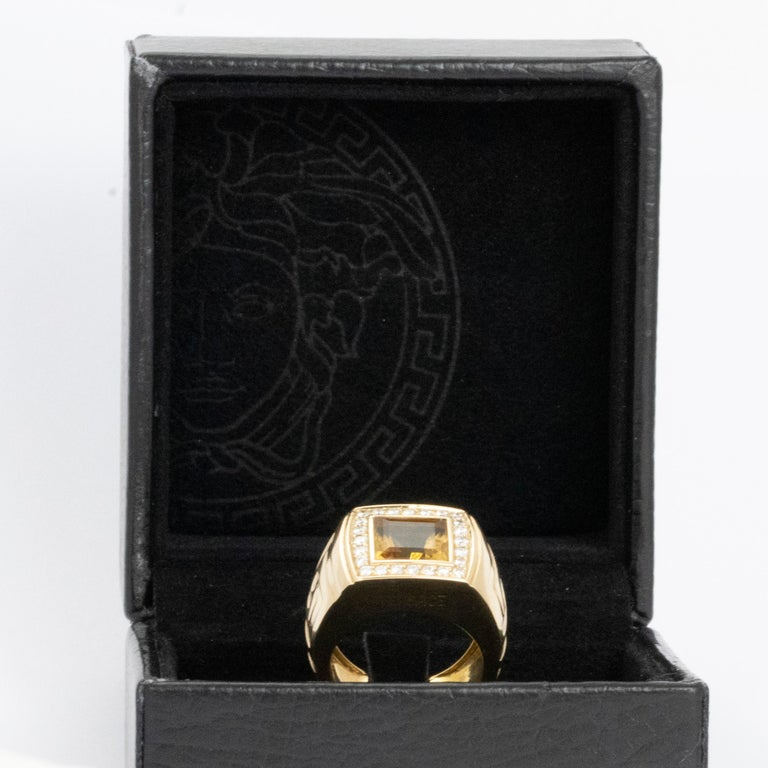 Women's or Men's Versace Citrine and Diamond 18 Carat Gold Statement Ring