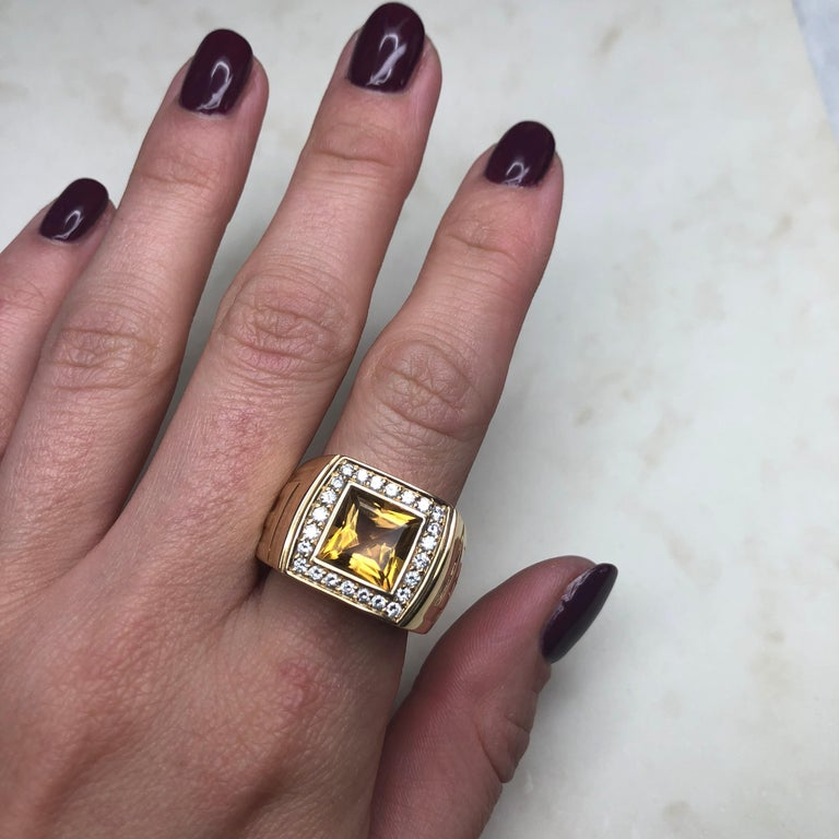 Versace Citrine and Diamond 18 Carat Gold Statement Ring 1