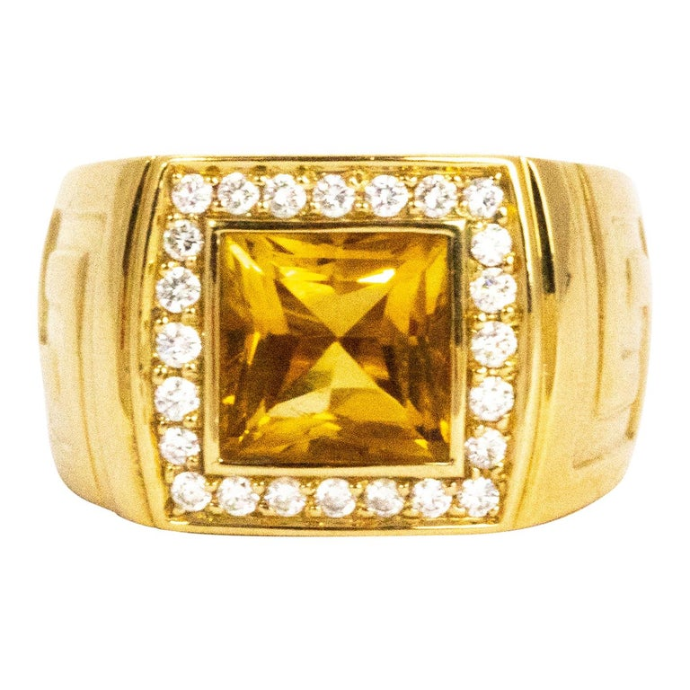 Versace Citrine and Diamond 18 Carat Gold Statement Ring