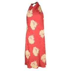 Versace Classic Vintage Orange Floral Print Buckle Detail Draped Halter Dress L