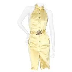 Versace Collared Halter Dress with Medusa Belt SS2005