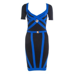 Versace Collection Black Contrast Trim Knit Logo Buckle Detail Bodycon Dress S