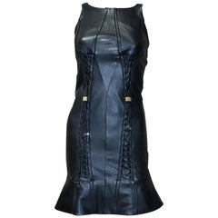 VERSACE COLLECTION BLACK LEATHER DRESS with TASSELS 38 - 4