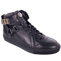 Versace Collection Black Metal Chain Strap Hi Top Sneakers