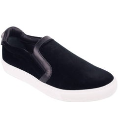 Versace Collection Black Velvet Leather Trim Slip On Sneakers