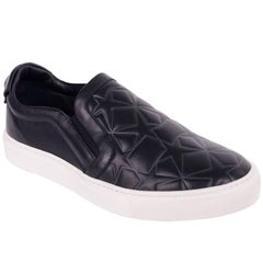 Versace Collection Black Women's Star Engraved Slip On Sneakers