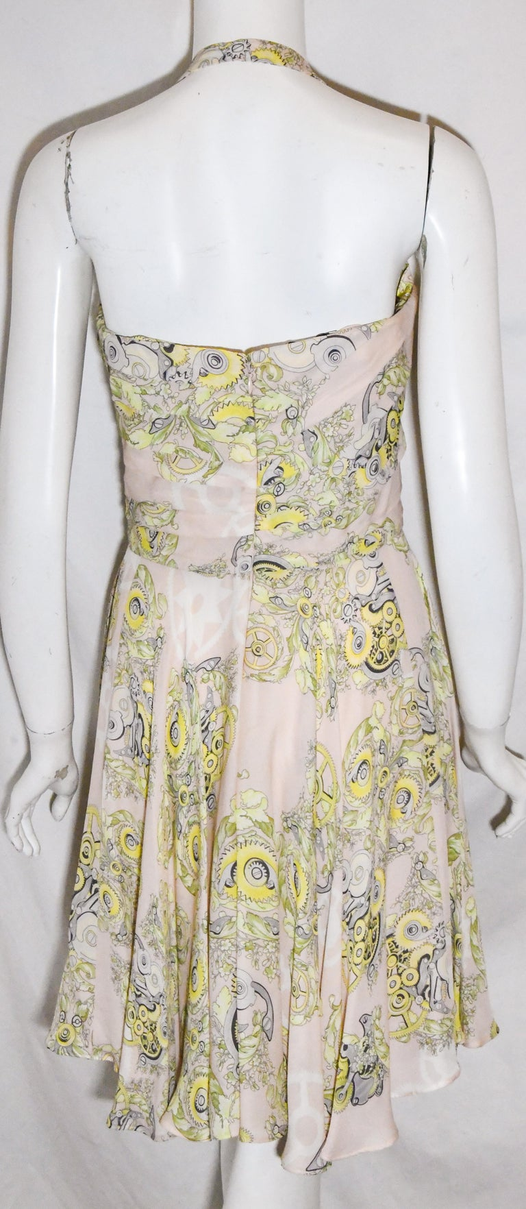 Versace Collection Halter Top Full Skirt White & Yellow Print Dress In Excellent Condition For Sale In Palm Beach, FL