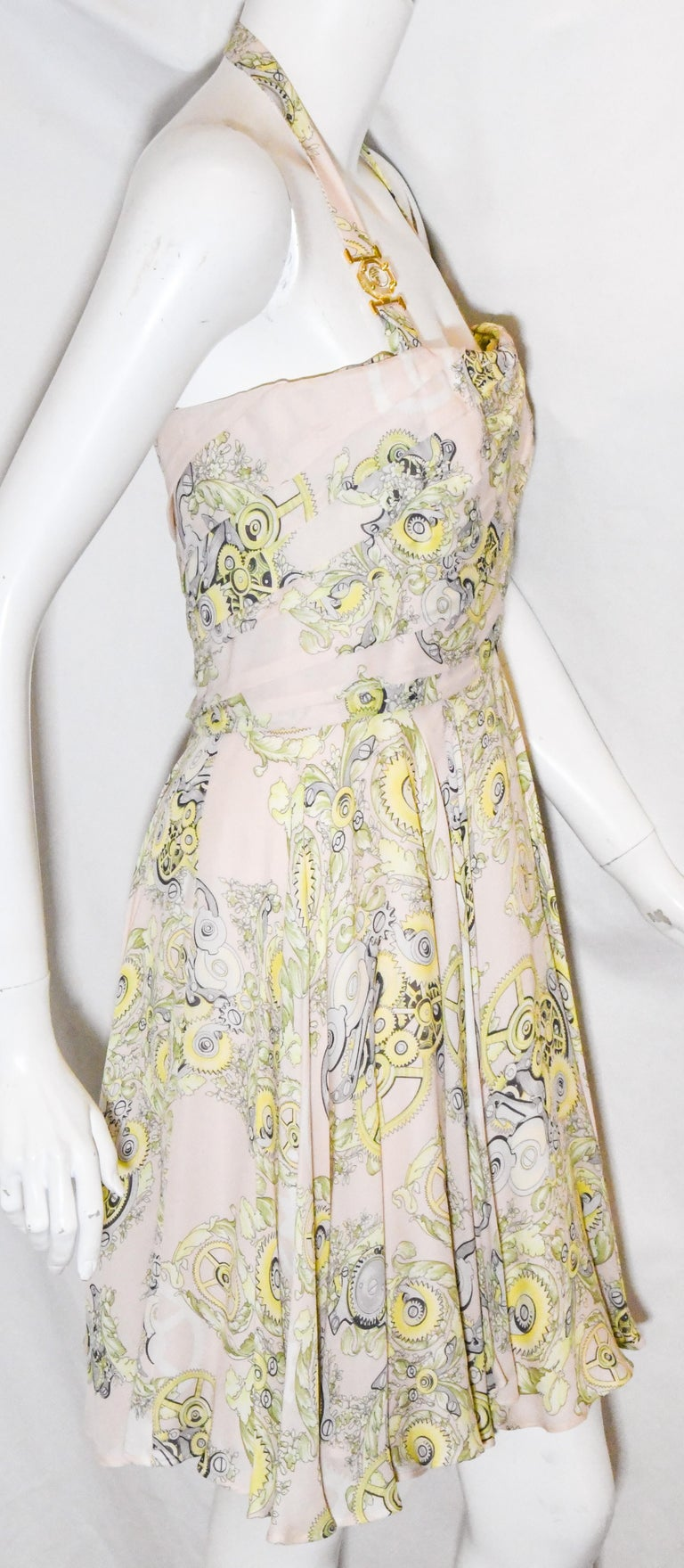 Women's Versace Collection Halter Top Full Skirt White & Yellow Print Dress For Sale