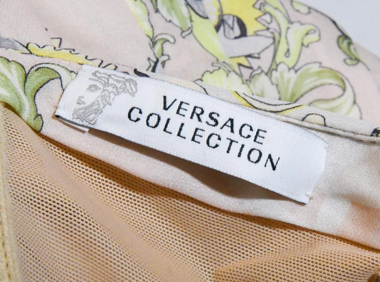 Versace Collection Halter Top Full Skirt White & Yellow Print Dress For Sale 1