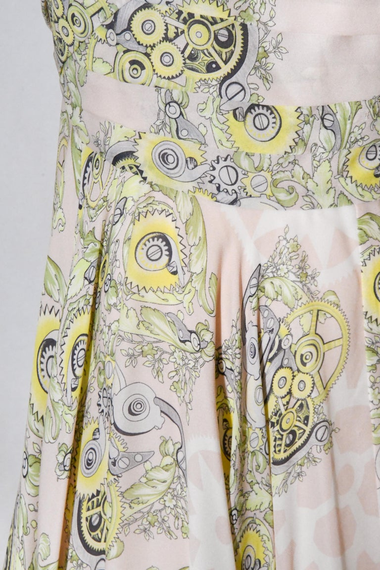 Versace Collection Halter Top Full Skirt White & Yellow Print Dress For Sale 2