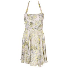 Versace Collection Halter Top Full Skirt White & Yellow Print Dress