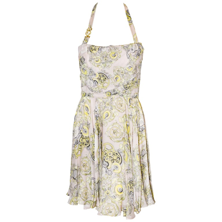 Versace Collection Halter Top Full Skirt White & Yellow Print Dress For Sale