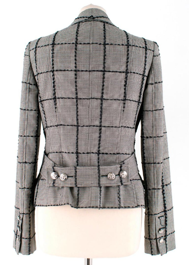 Versace Collection Houndstooth Tweed Trim Tailored Jacket  Silver medusa head buttons with Versace logo Multi-checked pattern with square threading Notched lapel Full silk lining Belted detail at back  Please note, these items are pre-owned and may