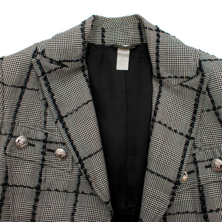 Versace Collection Houndstooth Tweed Trim Tailored Jacket XS 38  In Good Condition For Sale In London, GB