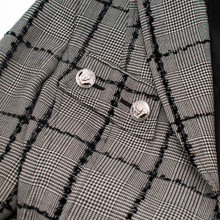 Women's Versace Collection Houndstooth Tweed Trim Tailored Jacket XS 38  For Sale