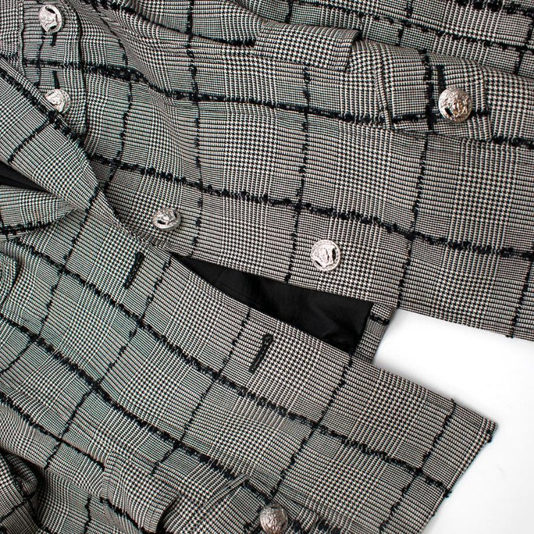 Versace Collection Houndstooth Tweed Trim Tailored Jacket XS 38  For Sale 1