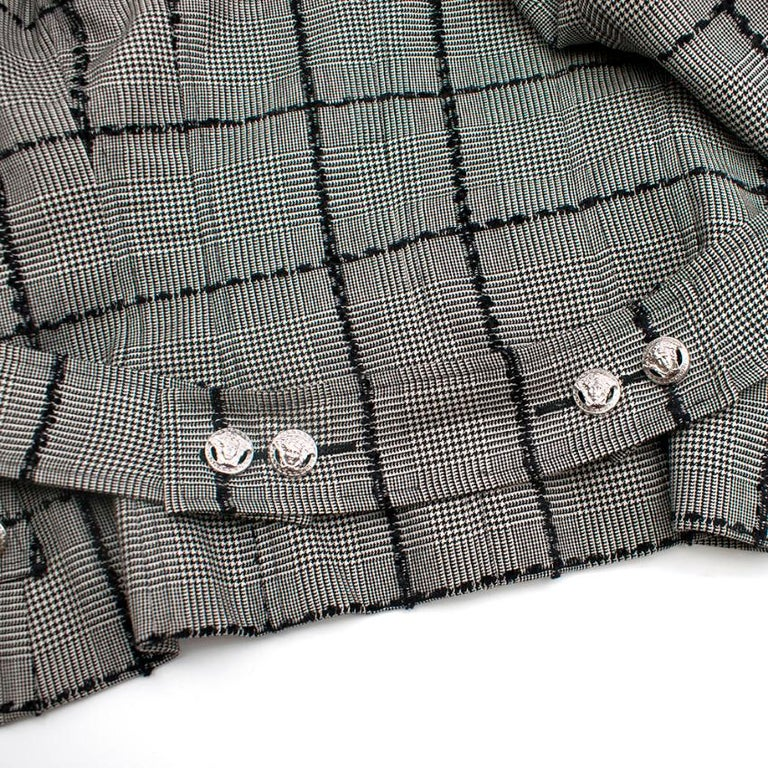 Versace Collection Houndstooth Tweed Trim Tailored Jacket XS 38  For Sale 2