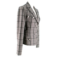 Versace Collection Houndstooth Tweed Trim Tailored Jacket XS 38