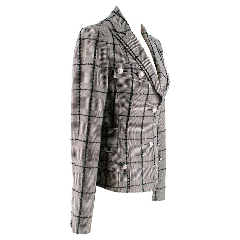Versace Collection Houndstooth Tweed Trim Tailored Jacket XS 38  For Sale