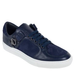 Versace Collection Men Navy Suede Leather Low Top Sneakers