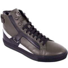 Versace Collection Mens Green Leather Harness Hi Top Sneakers