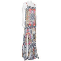 Versace Collection Multicolor Floral Print Crepe Pleated Maxi Dress M