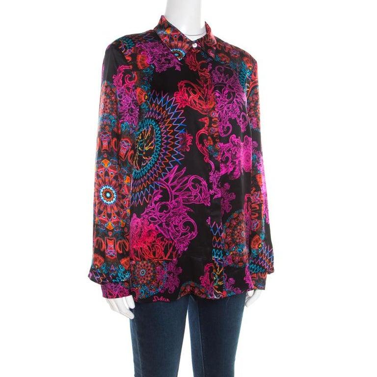 Versace Collection Multicolor Paisley Glow Print Satin Silk Long Sleeve Shirt L In Good Condition In Dubai, Al Qouz 2