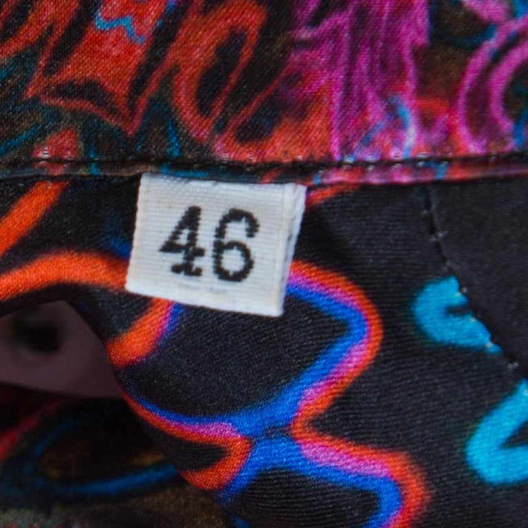 Versace Collection Multicolor Paisley Glow Print Satin Silk Long Sleeve Shirt L 1