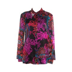 Versace Collection Multicolor Paisley Glow Print Satin Silk Long Sleeve Shirt L