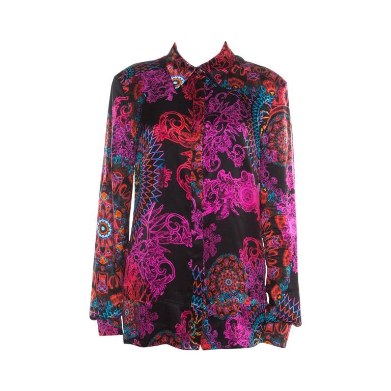 Versace Collection Multicolor Paisley Glow Print Satin Silk Long Sleeve Shirt L