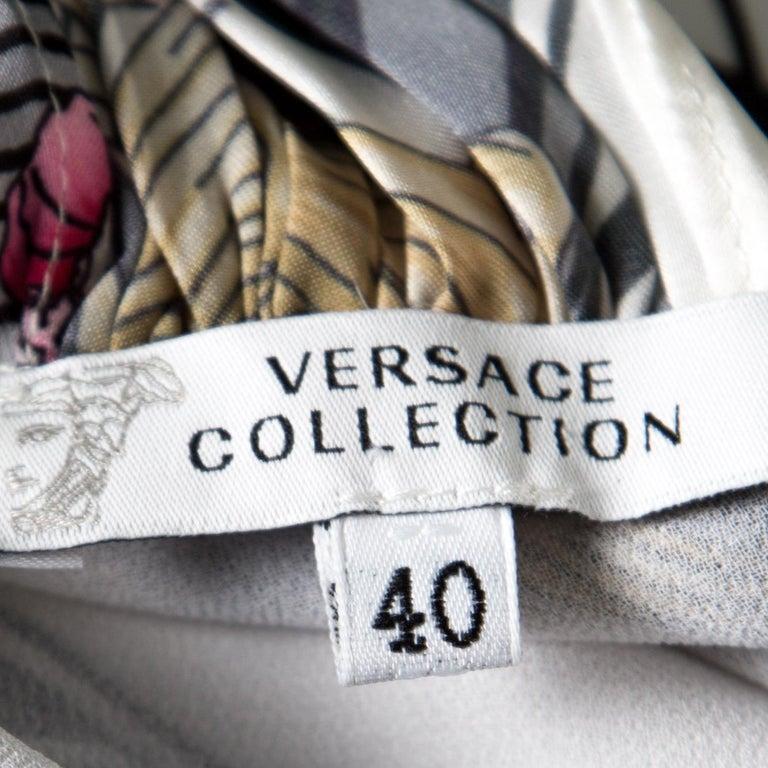 Versace Collection Multicolor Printed Plunge Neck Handkerchief Hem Dress S In Excellent Condition For Sale In Dubai, Al Qouz 2
