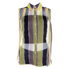 Versace Collection Multicolor Striped Silk Pearl Button Sleeveless Shirt M
