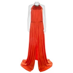 Versace Collection Orange Knit Medusa Icon Choker Detail Halter Gown L