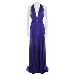 Versace Collection Purple Pleated Plunge Neck Medusa Icon Evening Gown S