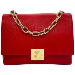 Versace Collection Red Fold-Over Leather Crossbody Bag