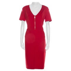 Versace Collection Red Stretch Knit Zip Detail V Neck Pencil Dress L