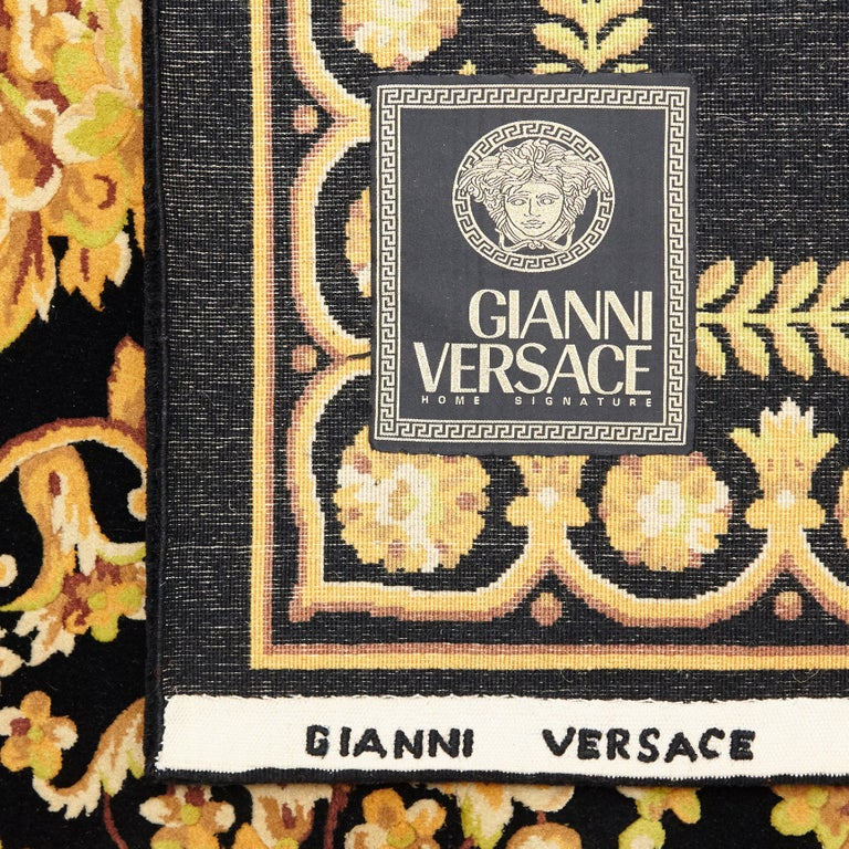 Versace Collection Rug Petit Barocco Nero Black Gold, 1980 For Sale 9