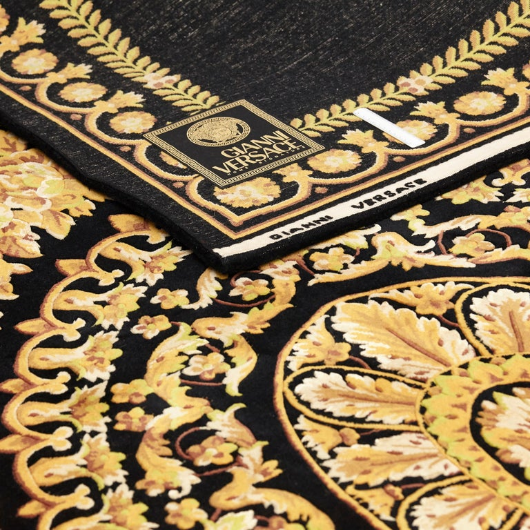 Versace Collection Rug Petit Barocco Nero Black Gold, 1980 For Sale 11