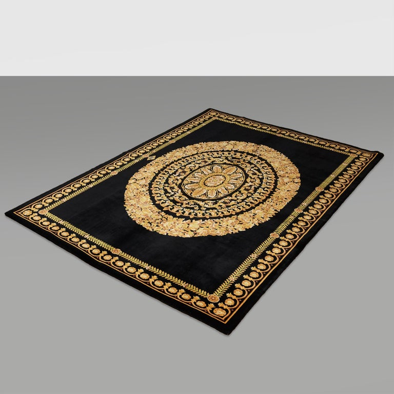 Versace Collection Rug Petit Barocco Nero Black Gold, 1980 For Sale 12