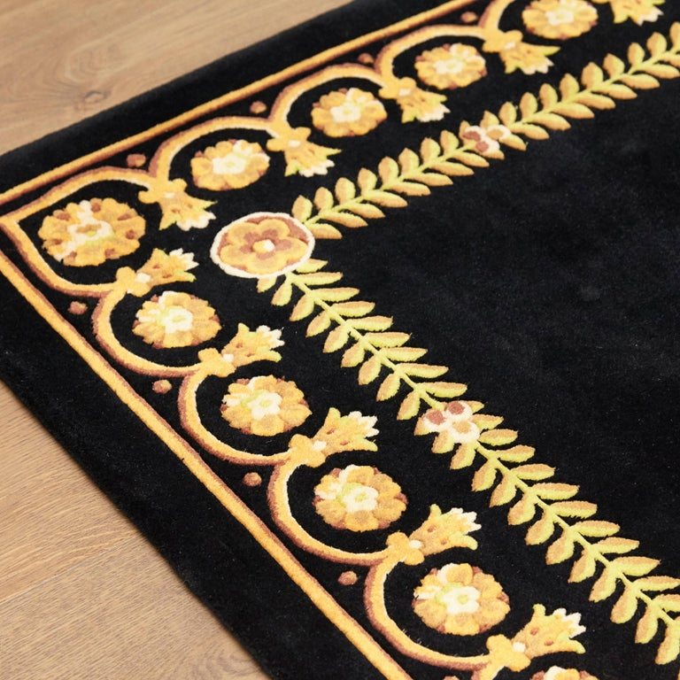 Baroque Versace Collection Rug Petit Barocco Nero Black Gold, 1980 For Sale