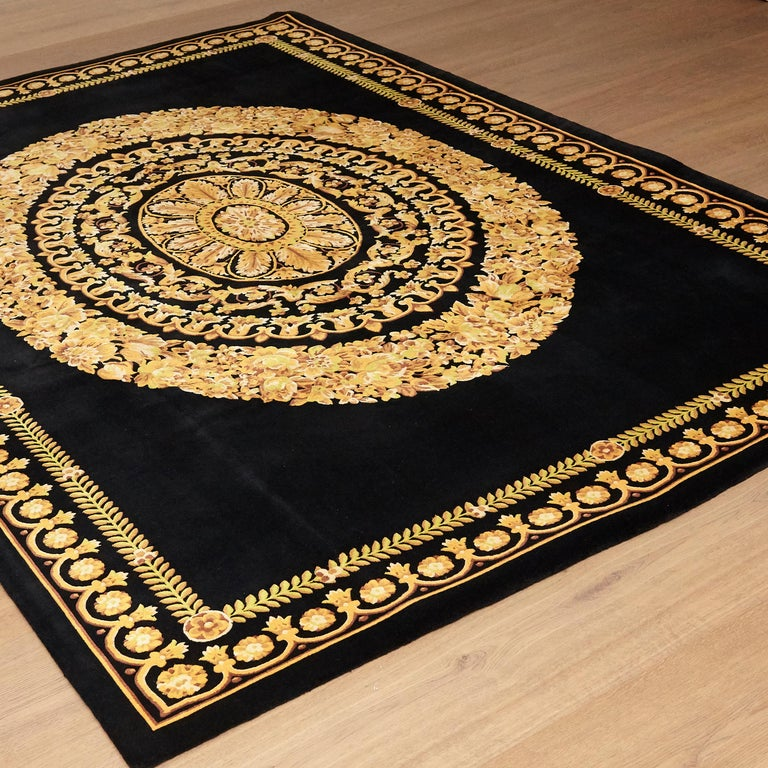 Italian Versace Collection Rug Petit Barocco Nero Black Gold, 1980 For Sale