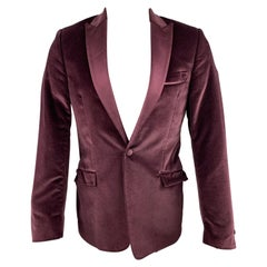 VERSACE COLLECTION Size 36 Burgundy Velvet Peak Lapel Sport Coat