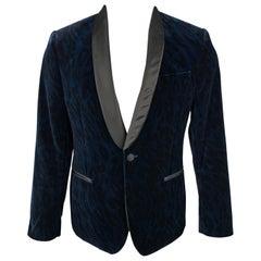 VERSACE COLLECTION Size 38 Navy & Black Animal Print Velvet Shaw Lapel Coat