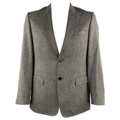 VERSACE COLLECTION Size 40 Black & White Grid Silk / Wool Sport Coat