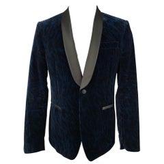 VERSACE COLLECTION Size 40 Navy & Black Leopard Print Shawl Collar Sport Coat