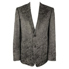 VERSACE COLLECTION Size 44 Charcoal & Black Metallic Print Sport Coat